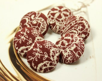 Elegant Baroque Floral Pattern Dull Red Fabric Buttons,1.07 inch.  (6 in a set)
