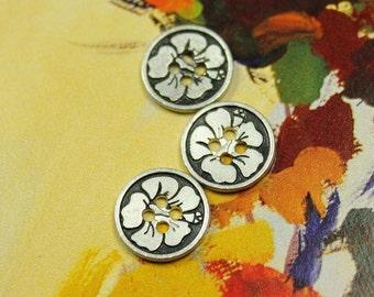 Metal Buttons - Bauhinia Metal Buttons , Retro Silver Color , 4 Holes , 0.51 inch , 10 pcs