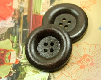 Wooden Buttons - Large Thick Border Recessed Center Brown Wooden Buttons, 1.18 inch (10 in a set)