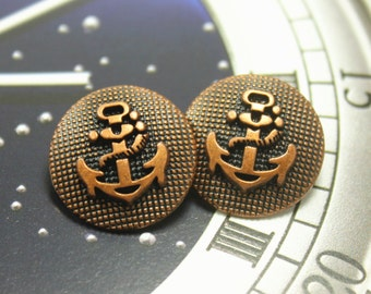 Metal Buttons - Anchor Metal Buttons , Copper Color , Shank , 0.79 inch , 10 pcs
