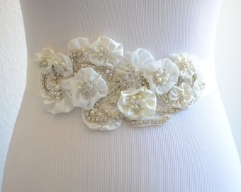 READY TO SHIP,Clearance,Ivory Flower Sash, Rhinestone Beaded Sash, Satin Ribbon Sash, Bridal Sash, Pearls and Rhinestone flower sash