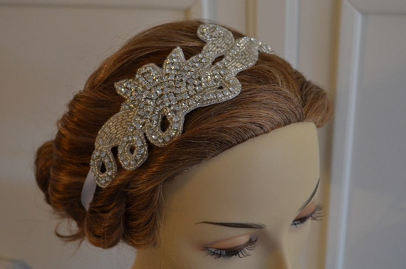 LAST ONE, Rhinestone Beaded Headband, Headpiece,white Ribbon tie, white ribbon,Vintage, Style B043