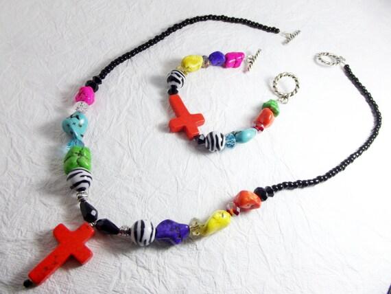 Bright Chunky Bracelet and Chunky Necklace set