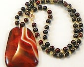 Tiger Eye and Swarovski Crystal Necklace with Brown Agate Cabochon Pendant