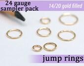 175 pcs 24g gold fill sampler pack jump rings 24 gauge designer assorted jumprings 24gsamp 14k gold filled rings findings links