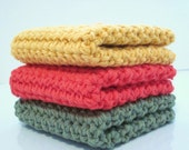 Crochet Wash Cloths, Dish Cloth, Set of 3 Cotton Cloths