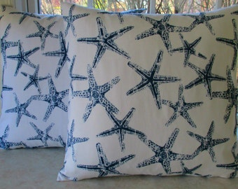 SALE COASTAL COLLECTION - Pillow Covers 20 x 20  Sea Friends Navy Fabric Both Sides Housewares-Home Decor