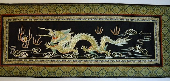 Chinese Silk Tapestry Dragon Wall Art Asian Wall Hanging