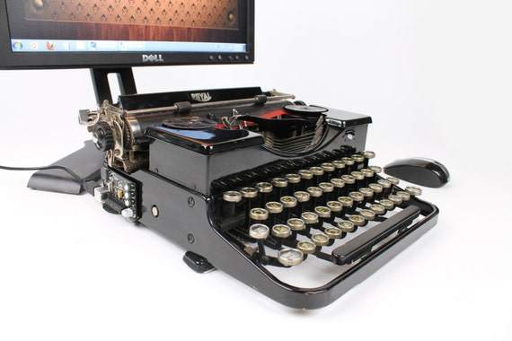 """USB Typewriter Computer Keyboard -- Royal Portable with Yellow """"Stained Glass"""" Keys"""