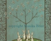 Celebrating Spring-Magnolia Tree-Bunny Rabbit-Valentine decor-Spring Decor-Blue-Print available