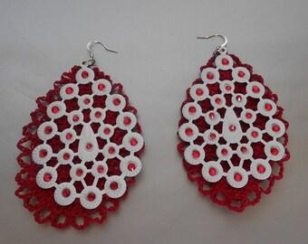 Crochet Jewelry-Red White Crochet Earrings-Dangle Earrings-Crystal Crochet Jewelry-Bridal Accesories