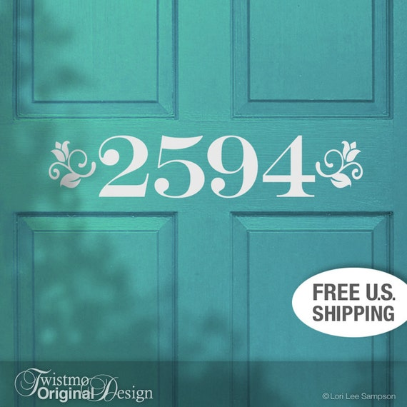 Custom House Number Removable Vinyl Door Decal in Floral Accent Style