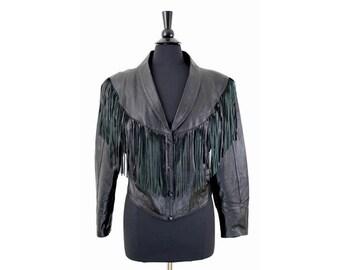 Crop Black Leather Fringe Biker Jacket Size Medium/Large