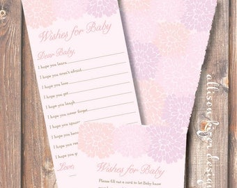 Pastel Pink Floral Baby Wishes Baby Girl Printable Pink Peony Printable Wishes for Baby Game - INSTANT DOWLOAD