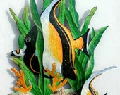 Tropical Fish Metal Wall Hanging - Hand Painted Metal Tropical Decor - Yellow - Black Fish Design - Haitian Recycled Steel Drum Art - K175