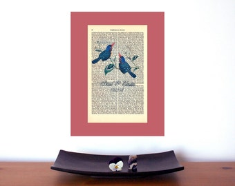 Lovebirds Wedding Anniversary Engagement Valentine Gift Personalized Art Print on Antique 1896 Dictionary Book Page