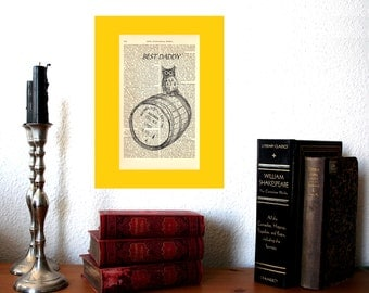 Best Daddy Whisky Owl Personalized Art Print on Antique 1896 Dictionary Book Page