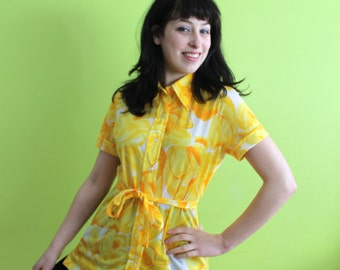 Blouse VERA  Top 60s 70s Vintage 1960s 1970s  Yellow Floral  M Medium Shirt