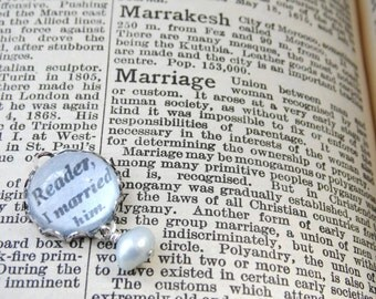 Wedding Bouquet Garter Blue Silver Charm Jane Eyre Quote - I MARRIED HIM - Something Blue Literary Pearl Wedding Uk