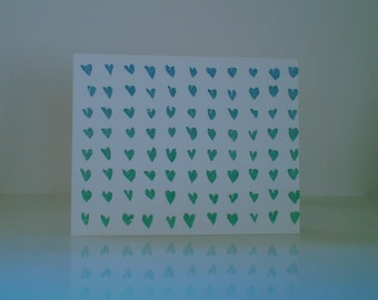Set of 5 Blue/Green Ombre Hearts Letterpress Printed Card