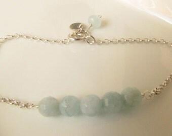 Aquamarine Sterling Silver Bracelet, Gemstone Bracelet