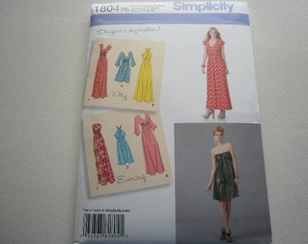 Pattern Ladies Day or Evening Dresses Sizes 6 to 14 Simplicity 1804 A
