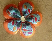 Orange and Flower Double Ribbon Flower Bow