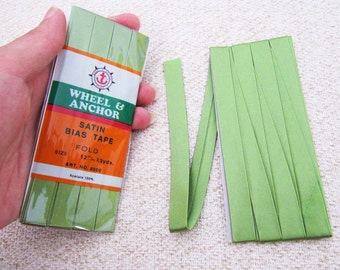Satin Bias Tape - Olive Green