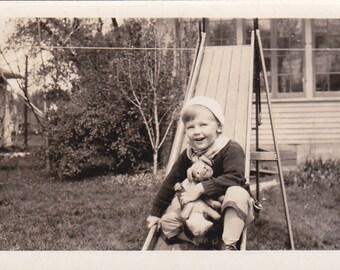 Boy at Bottom of Slide - Vintage Photograph (PP)