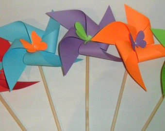 Butterfly Pinwheels Set of 15 for Easter or a Birthday Party or a Baby Shower or a Bat Mitzvah