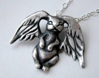 Silver bunny pendant angel wings