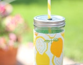 Lemon Lime Mason Jar cup  24 oz large to go Tumbler with fabric sleeve- travel mug - teachers gift - mothers day- candy swirl straw included