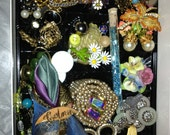 DIY vintage mixed media jewelry supplies, beads, buttons, rhinestones, for assemblage  more