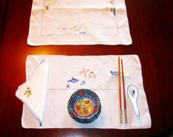4 Vintage Irish Linen Place Mats, Set Napkins, Table Runner.  1940's Hand Embroidered Chinese Motif