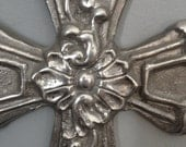 Heavy Molded Aluminum Cross, Rustic, with Petal Borders and Geometrics, Gorgeous Cross