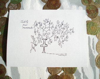 Curious Vase With Branches and Berries Drawing Black and White Print on Acid Free Cardstock 6 3/4 x 5