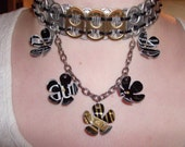 Upcycled Irish Beer Pop Tab necklace with flowers