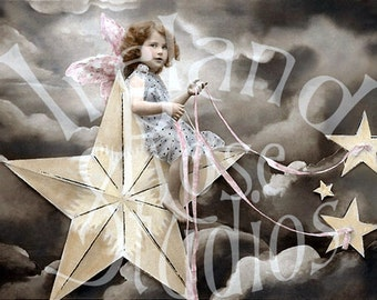 Angel in the Stars-French Postcard-Digital Image Download