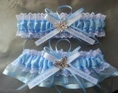 Wedding Garter Set, beautiful Personalized blue satin and white lace garter set with blue Butterfly, butterfly garter, something blue,