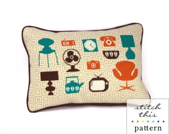 mod home - mid century modern needlepoint pattern - diy - modern - intsant download - pdf
