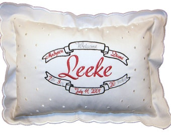 Personalized Birth Certificate Announcement Pillow Black & Red Design Cotton Embroidered