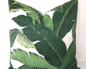 Swaying Palms - Tropical Palm Leaf Pillow Cover - Banana Leaf - 18x18 - 20x20 - 22x22 - 24x24 Euro Sham - Standard - Queen - King Pillow