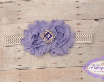 Baby headband, infant headband, newborn headband, purple shabby flower on gray chevron headband
