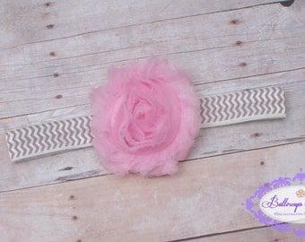 Pink baby headband, infant headband, newborn headband, photography prop, pink shabby chic flower on gray chevron heaband