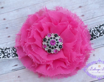Baby headband, infant headband, newborn headband, hot pink frayed flower on damask headband