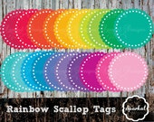 Scallop tags, Round Eyelet Scallop Tags, Gift Tags, Rainbow Eyelet Tags Scalloped Circle Tags Invitation Clipart Instant Download