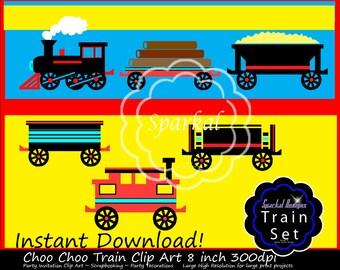 Train Clip Art, Choo Choo Train Clipart, Birthday Invitation ClipArt, Train Invitation Clipart, Red Caboose, Railroad