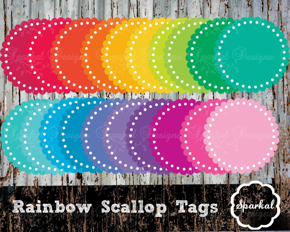 Scallop Tags Round Eyelet Scallop Tags Gift Tags Rainbow