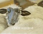 Sheep painting - Giclee print