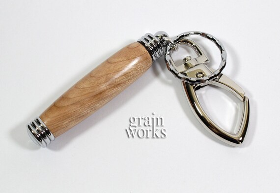 Flame Birch Bag Charm / Secret Compartment Key Chain with Chrome Accents